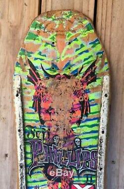1987 Vintage Sims Jeff Phillips Pro Model Skateboard Deck Tie Dye Demon