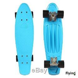 24 Retro Mini Skateboard Cruiser Style Complete Deck Plastic Skate Board Blue