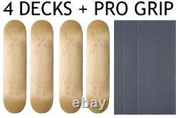 4 BLANK Skateboard DECKS Deck 8 in (8.0) NATURAL INCLUDES PRO GRIPTAPE