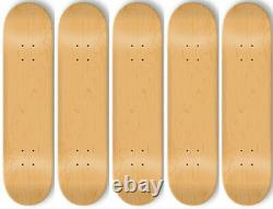 5 BLANK Skateboard DECKS Deck 8 in NATURAL + GRIPTAPE