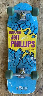 80s Vintage OG SIMS Jeff Phillips Deck Skateboard Original Trucks & Wheels