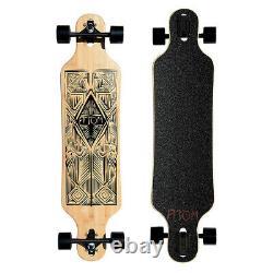 Atom Drop Through 40 Inch Bamboo Tiki and Maple Hybrid Deck Longboard Cruiser