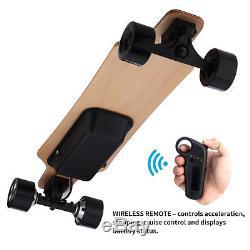 Electric 800W Dual Hub Moterized Longboard Skateboard Wireless Remote Maple Deck