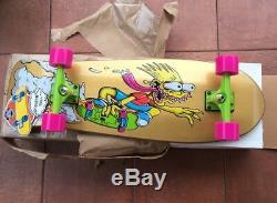MINT Santa Cruz Bart Simpson Slasher Gold Skateboard Complete Cruiser Skate Deck