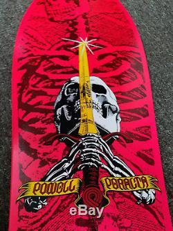 NOS1987Powell PeraltaSkull and SwordSkateboard Deck! Vintage, VCJ, Hot Pink