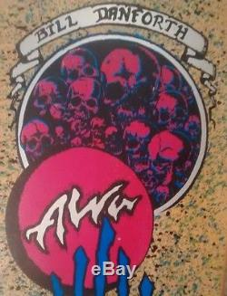 NOS / Alva Bill Danforth splatter skulls old school skateboard deck / OG VTG
