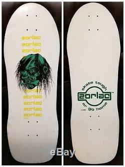 Nos Zorlac Double Cut Skateboard Deck Pushead Shrunken Head Og