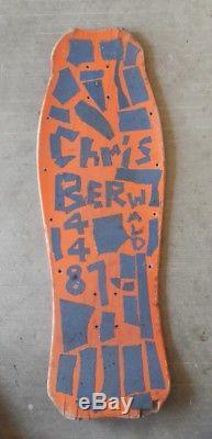 OG RARE Christian Hosoi ORANGE Skateboard SKULL SKATES MAX Natas 1987 Vintage