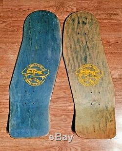 Pair of Vintage 1987 Eppic 28 Special Asymmetrical Skateboard Decks, Reg & Goofy