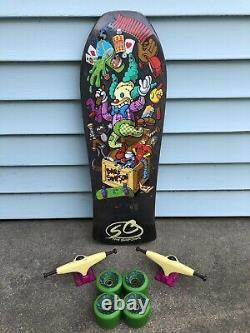 Santa Cruz Bart Simpson Toy Box Skateboard Deck Slime balls Wheels Grosso