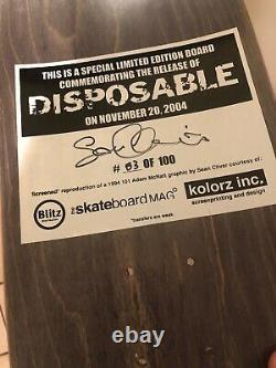 Sean Cliver/Adam Mcnatt Rare Disposable Book Skateboard Deck XXX/100 Signed
