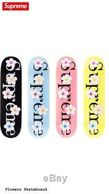 Supreme flowers skateboard deck complete set 4 been hit box logo pink nyc black