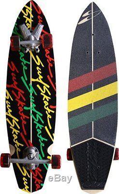 Surfskate Stunner Complete Longboard Skateboard -9.62x36 Black/Rasta