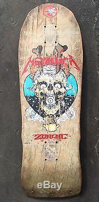 VINTAGE ZORLAC METALLICA SKATEBOARD DECK 1980s PUSHEAD ART