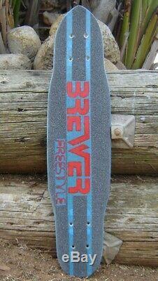 Vintage BREWER Freestyle Fiberglass Slalom Skateboard Deck Hobie Bahne G&S Sims
